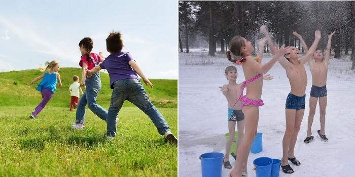 Дети играют на поляне и обливаются водой зимой