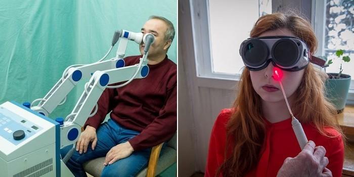 Люди на УВЧ и лазеротерапии