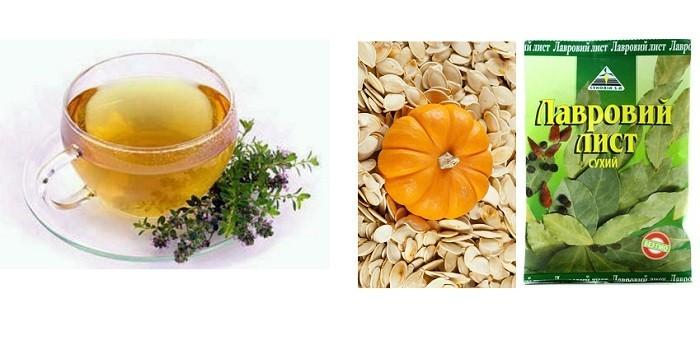 Отвар чабреца, семена тыквы и лавровый лист