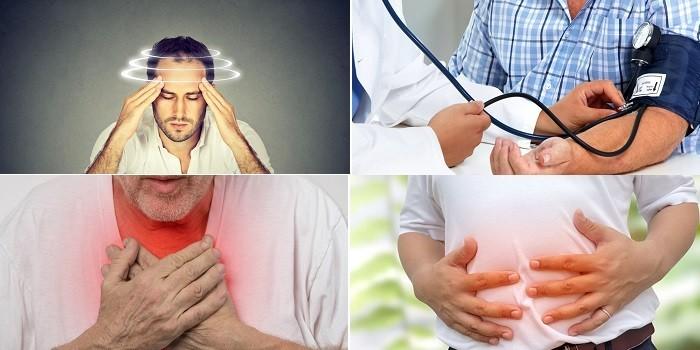 Головокружение, дыхательный спазм, давление и боли в животе