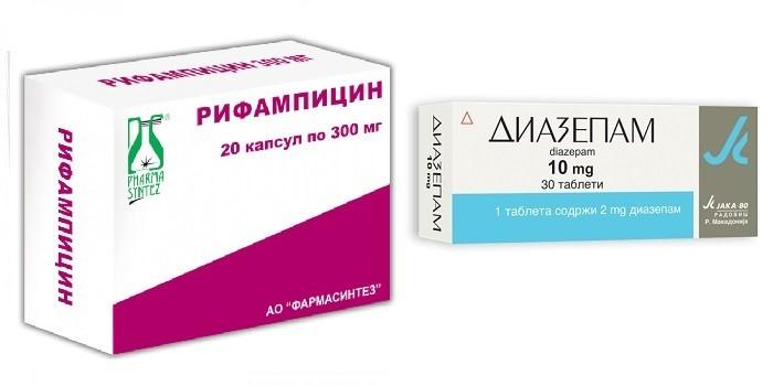 Капсулы Рифампицин и таблетки Диазепам