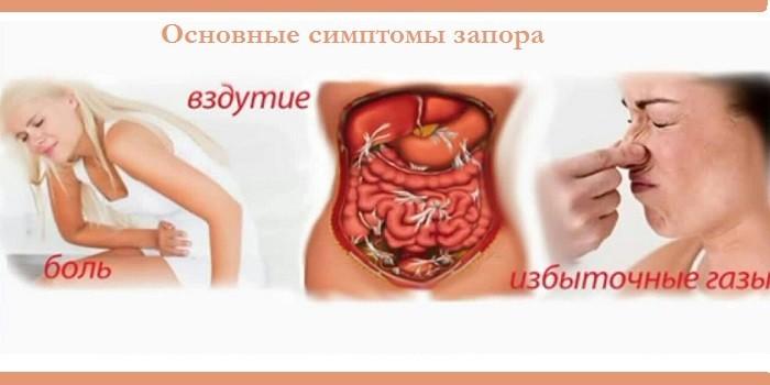 Основные симптомы запора