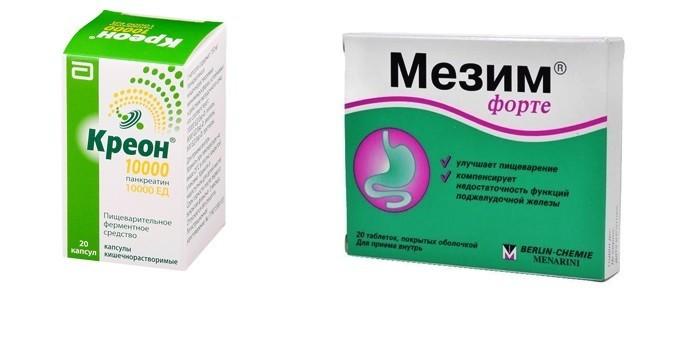 Таблетки Мезим форте и Креон 1000