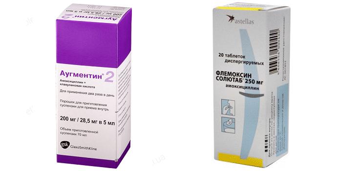 Антибиотики Аугментин и Флемоксин Солютаб