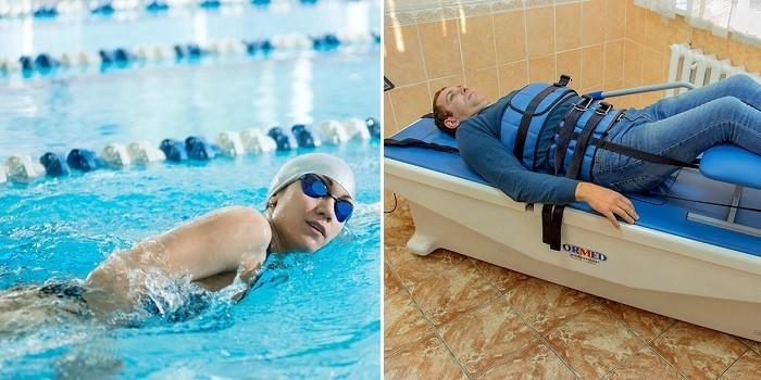 Плавание в бассейне и вытяжение позвоночника