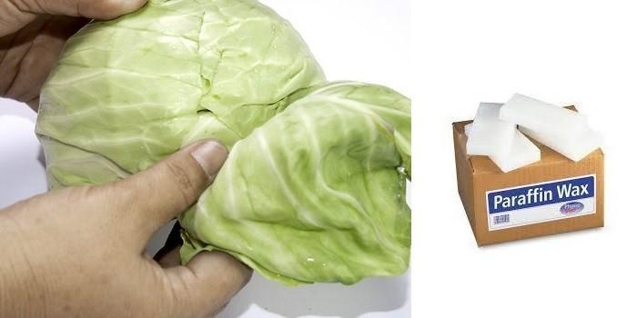 Капустный лист и парафин