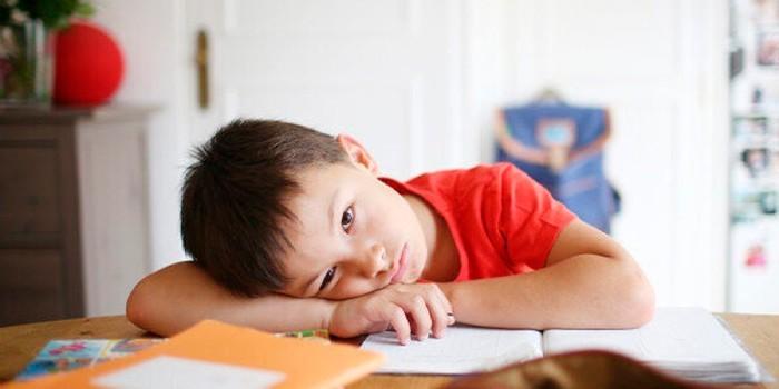 Мальчик делает уроки