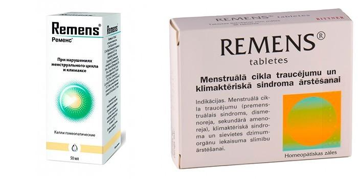 Раствор и таблетированная форма Ременс