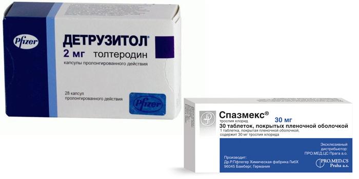 Таблетки Детрузитол и Спазмекс